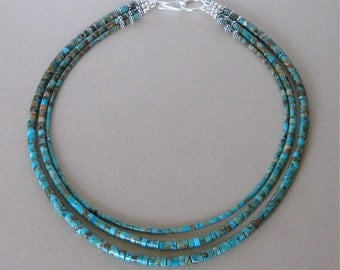 3 Strand Kingman Boulder Turquoise Heishi Necklace - Classic Southwestern Jewelry - Arizona Turquoise - Sterling Silver Hook and Eye Clasp