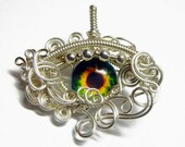 MADE TO ORDER - Glass Eye of Horus Evil Eye Pendant - Silver Wire Wrap Human Ra Eyeball Jewelry with Necklace