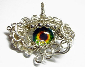 MADE TO ORDER - Zombie Eye Pendant - Silver Wire Wrap Human Eyeball Jewelry with Necklace