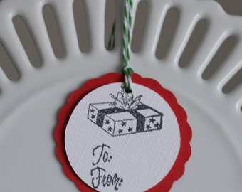 Christmas Package To / From tags - Christmas red - set of 10 - perfect for gift tags, holiday parties, classroom treats, etc.!