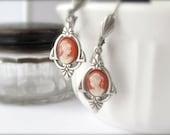 Art Deco Earrings, Cameo Earrings Earrings, Victorian Abbey, Wedding Jewelry Bride Earrings Bridal Jewelry, Bridal Earrings Hawaii Beads