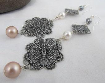 Pearl Dangle Filigree Earrings