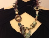 Rustic mixed media clay neckace odd287