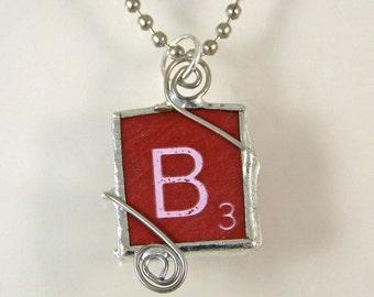 Red Scrabble Letter B Pendant Necklace