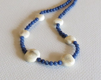Lapis and Lampwork Beads Handmade Necklace, Statteam