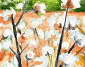 ACEO Cotton Bolls in field watercolor Painting, Cotton Painting, Small Botanical Art,  watercolors paintings original,  miniature painting