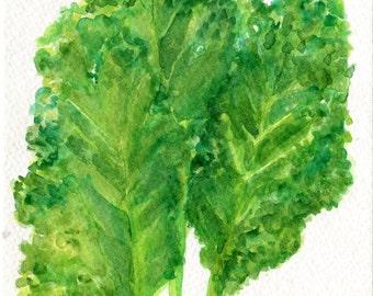 Curly kale Original Watercolor Painting, Small Vegetable Painting, Kitchen decor,  Kale watercolors paintings original
