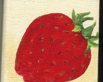 Strawberry mini painting on Canvas, Easel, small acrylic painting, fruit painting, miniature canvas, strawberry acrylics on canvas