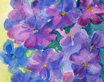 Hydrangea painting, Purple, Blue watercolor painting original 5 x 7 floral watercolor art, small watercolor flower art, flower painting