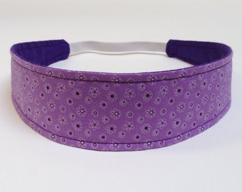 Headband Girls Child Children's  - Reversible Headband - Tiny Purple Flowers - ABIGAIL