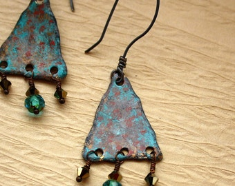 Rustic Triangle Earrings - Painted Brass Dangles