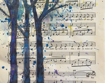 Watercolor tree painting on vintage upcycled sheet music paper