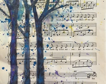 Watercolor painting of Tree art Nature home decor on vintage sheet music paper upcycled Art