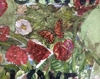 Mixed media red  flower garden Monarch butterfly Grow Love painting on vintage metal tray