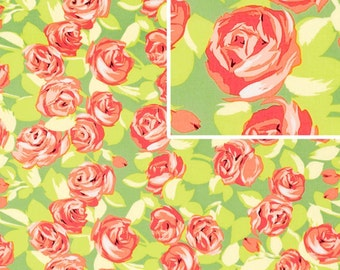 Tumble Roses in Tangerine/ Love prints by Amy Butler / 1 yard Quilt Cotton Fabric Apparel Fat Quarter