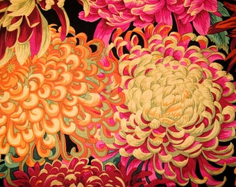 Japanese Chrysanthemum in Red with Black Pink,Blue PJ41 Phillip Jacobs, Kaffe Fassett Fabric  1/2  yard Quilt Craft and Apparrell fabric