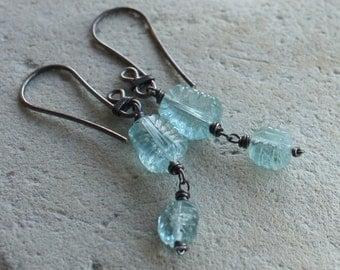 AQUAMARINE earrings, CARVED Aquamarine dangle earring March birthstone sterling silver blue gemstone handmade
