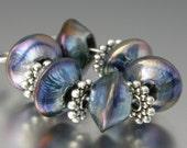 KILLERBEEDZ1 - Violet Iris - Sparklers - 6 Lampwork Beads