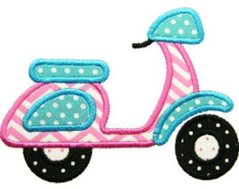 Applique Scooter, Retro Embroidery, Scooter Embroidery, Motorcycle Applique, Machine Embroidery Design Applique Scooter Instant Download
