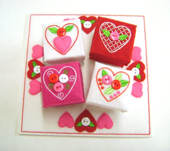 Valentine s embroidery design gift boxes