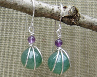 Green Aventurine Stone and Amethyst Sterling Silver Earrings - Stone Wire Wrap Bead Jewelry, Stone Earrings, Green, Women