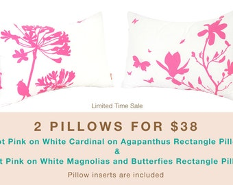 Limited Time Sale 2 Hot Pink  on White Flower Pillows for 38 US Dollars