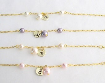 Initial Charm Bracelet Personalized Bridesmaid Bracelet Monogramme Bracelet FlowerGirl Bracelet Wedding Gift Flower Girl Free Shipping USA