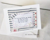 Greeting card, mini art quilt, sentiments, love, Valentine