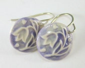 Porcelain Earrings Tulip In Lavender Purple With Hand Forged Sterling Silver Earwires