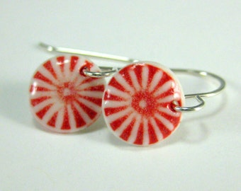 Porcelain Earrings Red and White Little Medallion Earrings With Sterling Silver Earwires
