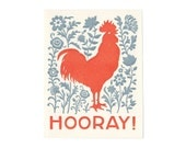 set of five HOORAY letterpress rooster cards