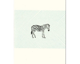 set of five zebra letterpress cards