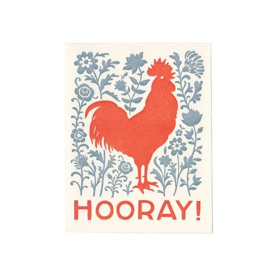 set of five HOORAY letterpress rooster cards