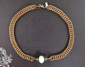 Amazonite Gemstone Persian Weave Necklace