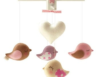 Musical Baby Mobile  BIRD PARADE with HEART, Love Birds Theme Decor, Hanging Crib Mobile, Handmade Felt Birds, Baby Nursery Playroom Decor