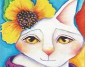 "Cat Print on Wood Block Miss Flower Original animal pet art, 3.5"" x 3.5"", mini print, Deb Harvey"