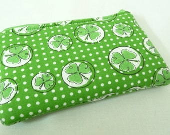 Padded Green Shamrock Pouch, Small Zippered Bag for St Patricks Day