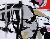 Abstract Art Painting Original Abstract Expressionist Large Bold Black White Modern Acrylic Painting on Canvas by Linda Monfort