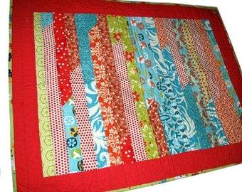 Original Handmade, Modern Baby Quilt, Orange & Turquoise, Cloud Backing, Natural Cotton, Crib Size