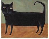 Black Cat PRINT - Cat Folk Art - Primitive Decor - Quirky Picture - Outsider Print  - Naive Art