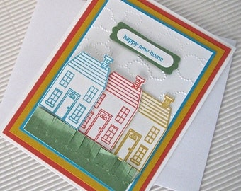 Happy new home card set (10) housewarming handmade stamped heat-embossed dry-embossed colorful houses stationery greeting home living