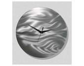 All Natural Silver Abstract Metal Wall Clock - Modern Functional Art - Clock Sculpture - Round Accent - Time After Time by Jon Allen