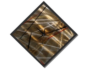 Gold Black & Red Contemporary Metal Wall Clock - Silver Handmade Abstract Functional Art - Hanging Timepiece-The Clock Strikes by Jon Allen