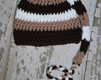 crochet newborn elf hat, newborn baby prop, new baby gift, stocking cap, elf hat, stocking hat, long tail hat, beanie, knit baby hat, brown