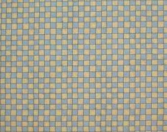 Blue Yellow Fabric Squares Something To Crow About Black Outlines Cotton Quilting Square Fabric