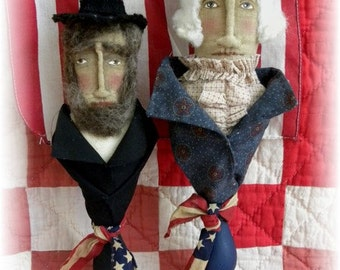 Presidents, Presidents Day, Primitive, Very Primitive, George Washington, Abraham Lincoln, Holiday, Pattern, Prim, HAFAIR, Red, White, Blue,