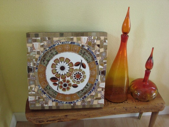 Wall Hanging Retro Flower Eclectic Vintage Mosaic Tile Broken Plate Plaque Art Home Decor Brown 70s Style