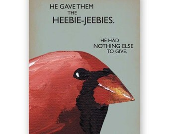 Heebie Jeebies Card - Bird - Cardinal - Greeting - Gratitude - Stationery - Mincing Mockingbird - Blank - Gift - Christmas