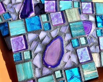 Fabulous NEW Handmade Mosaic Coasters turquoise Agate Rich Purples colors metallic italian glass tile