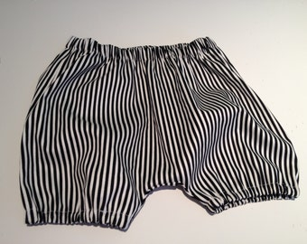 BABY BLOOMERS SHORTS - Boy or Girl - Black and White Classic Stripe - Size 3 months - 3 yrs.